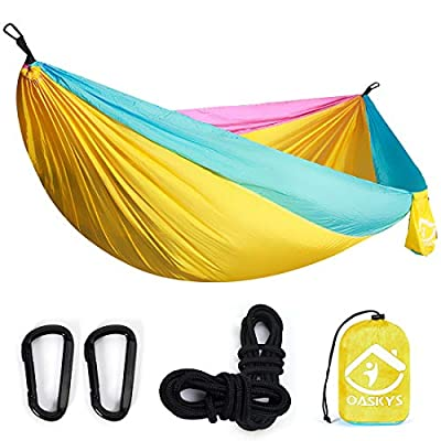 oaskys Camping Hammock Double with 2 Tree Straps Made of Portable Lightweight Nylon Parachute for Backpacking,Travel,Beach,Yard and Outdoor Survival (Yellow)