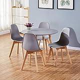 <span class='highlight'>GOLDFAN</span> <span class='highlight'>Dining</span> <span class='highlight'>Table</span> <span class='highlight'>and</span> <span class='highlight'>Chairs</span> <span class='highlight'>Set</span> 4 <span class='highlight'>Modern</span> Round Kitchen <span class='highlight'>Table</span> <span class='highlight'>and</span> 4 <span class='highlight'>Chairs</span> High Gloss <span class='highlight'>Dining</span> <span class='highlight'>Table</span> <span class='highlight'>Set</span>,90cm/Grey <span class='highlight'>and</span> White