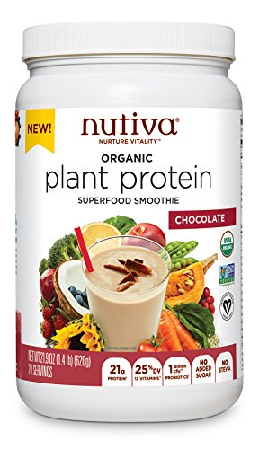 Nutiva Organic Plant Protein Superfood for Shakes and Smoothies, Chocolate, 1.4 Pound