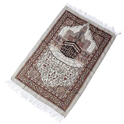 ifundom Turc - Alfombra de oración Musulman - Alfombra de oración - Regalo Ramadán Islámico Janamaz Sajadah Namaz Seccade - Alfombra bordada - Alfombra para meditación peregrinada - 110 cm