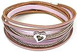Feelinko Sweetheart - Verspieltes Wickelarmband mit komfortablem Magnetverschluss und Herz Anhänger Leder-Look Damen Arm-Kettchen Bracelet violett