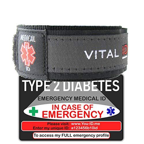 Diabetes Type 2 Alert Armband Deal Diabetics Medische ID Portemonnee Kaart. 2019 Noodidentiteitsbundel met online serviceoptie. Contacten, voorwaarden, medicijnen, bloedgroep, NHS-nummer registreren