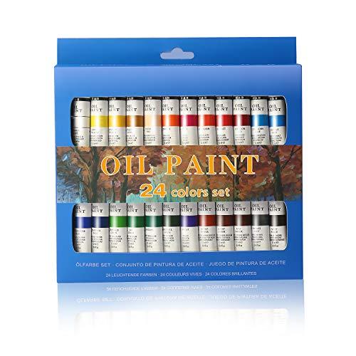 La pintura de aceite Set - 24 colores de pintura 12ml Tubes- artista pinta grado para profesionales, principiantes y estudiantes - Ideal para murales, lienzo, Retrato y Pintura - Xmas gift