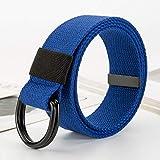 Cinturón Unisex Aleación Doble Anillo Hebilla Cinturón Casual Moda Lienzo Tejido Hombre Y Mujer Cint...