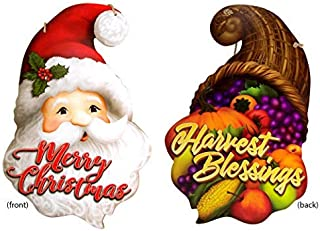 Seasonal Holidays Double sided Hanging Decor, Harvest Blessings Cornucopia and Merry Christmas Santa Claus Sign, 18 Inch