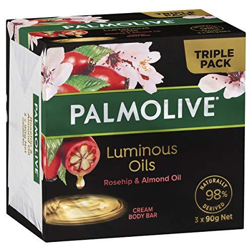 Palmolive Luminous Oils Rosehip & Almond Oil Cream Body Bar 3 x 90g, Rosehip & Almond Oil, 301 g