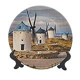 Molino de viento de 25,4 cm de cerámica decorativa, diseño de molinos de viento en Consuegra antiguo histórico histórico, placa de pared de cerámica para eventos de lujo, cenas y bodas