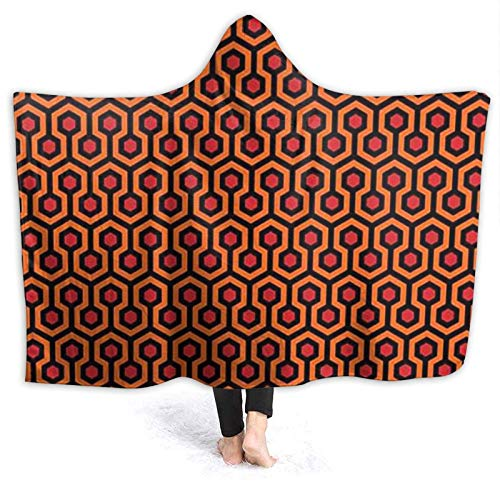 OLGCZM The Shining Overlook Hotel Print Super Soft Light Weight Throw Wearable Hooded Blanket Sherpa Fleece Summer Quilt for Bed Couch Sofa