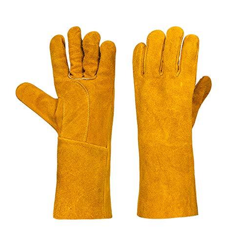 LANGYINH Schweißhandschuhe Arbeitshandschuhe,Hitzebeständig Lange Ärmel Handschuhe Perfekt für Schweißarbeiten Grill Lagerfeuer Topflappen BBQ,14 Zoll,Gelb