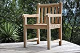 SAM Sillón de jardín de teca, madera maciza, silla con brazos, ideal para el balcón, terraza...