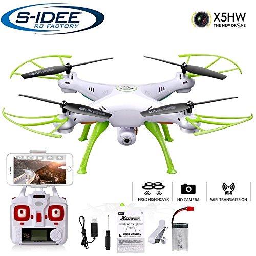 s-idee, 01632X5HW - Drone quadricottero WiFi, con trasmissione foto e video HD tramite sistema FPV (First Person View), regolabile in altezza, drone con funzione di rotazione a 360°, 2.4GHz con giroscopio, 4canali, sistema di controllo di volo a 6assi con camera 720p