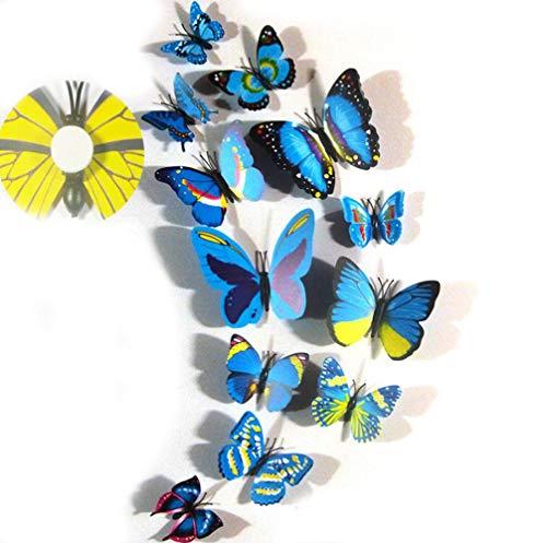 YUEMING 12 Piezas Mariposa 3D Pegatinas de pared Mariposas de pared Adhesivos 3D decorativos para pared kids room decor del dormitorio decoracion de mariposa para la (Azul)