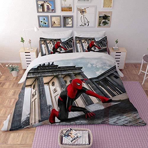 Matasuer Boys Duvet Cover Set, Red Cool Movie Hero Character - Double (200 X 200 Cm) 2 Pillowcase 50 X 75 Cm Soft Easy Care Anti-Allergic Bedding Set Gift For Teens Girls