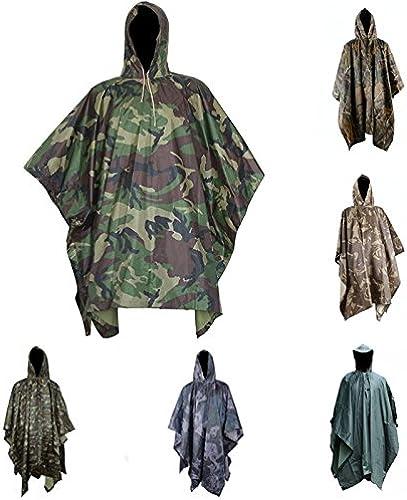 ShopSquare64 Manteau de Pluie de Camouflage Multifonctionnel Outdooors Manteau de Pluie de Voyage Poncho de Camouflage de Cyclisme