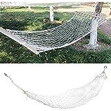 Gmasuber Hamaca de cuerda portátil colgante de malla hamaca con cuerda de algodón palo de madera para viajes camping patio trasero