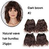 Les paquets de cheveux bruns foncés 6'les paquets brésiliens normaux courts de vague 6pcs ne cousent pas cher dans des prolongements d'armure de cheveux humains 25g / paquet