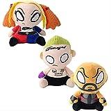 qwertt Muñeca De Peluche De Juguete Harley Quinn Joker Peluche De Dibujos Animados Muñeca De Juguete Escuadrón Suicida con Llavero 20cm 3 Piezas/Set