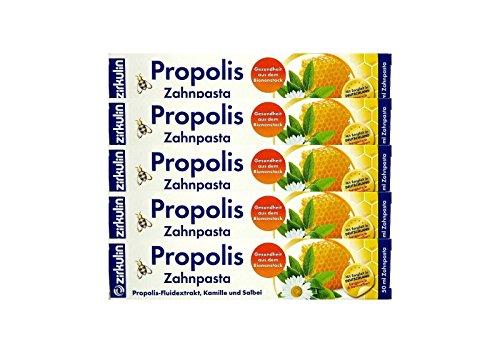 5x ZIRKULIN Propolis Zahnpasta 50 ml Kamille und Salbei Made in Germany