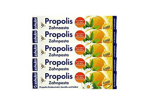 5x ZIRKULIN Propolis Zahnpasta 50 ml Kamille und Salbei Made in Germany