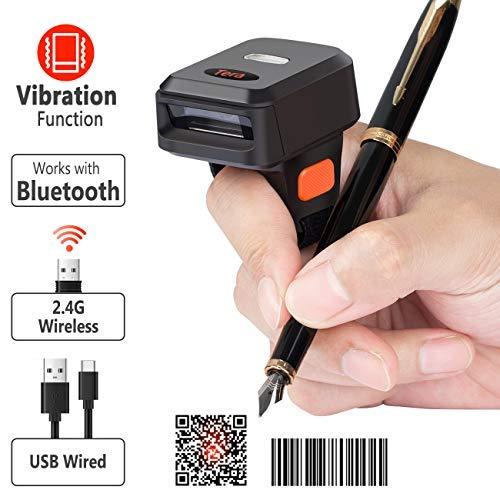 Tera Escaner Codigo de Barras Inalambrico Lector Codigo de Barras Bluetooth Portátil Dedo del Anillo Apoyo para Sistema iOS Androide Windows