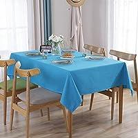 テーブルクロス 綿麻生地 長方形 140×180cm ブルー テーブルカバー 無地 シンプル テーブルマット 防塵 耐熱 自宅用 ホテル 雰囲気 インテリア 多用途