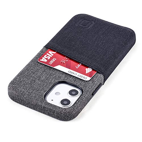 """Dockem Wallet Case for iPhone 12 Mini: Built-in Metal Plate for Magnetic Mounting & 1 Credit Card Holder Slot: 5.4"""" Luxe M2, Canvas Style Synthetic Leather (Black and Grey)"""