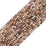Sweet & Girl's Store tallado redondo de colour blanco con diseño de piedras preciosas Perlas Strand 38.1 cm de la joyería de la fabricación de perlas, 2mm Bild-Jaspis Perlen