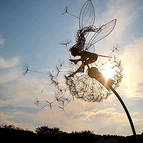 LöWenzahn-Fee-Skulptur, Garten-Silhouettenpfähle Gartenskulpturen Dekorativer Metallpfahl Fee, Feen Und LöWenzahn Tanzen Zusammen (B)