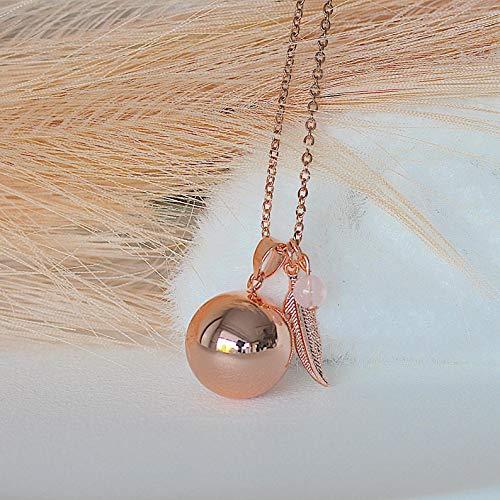 bola de grossesse chaine acier inoxydable plume or rose quartz rose