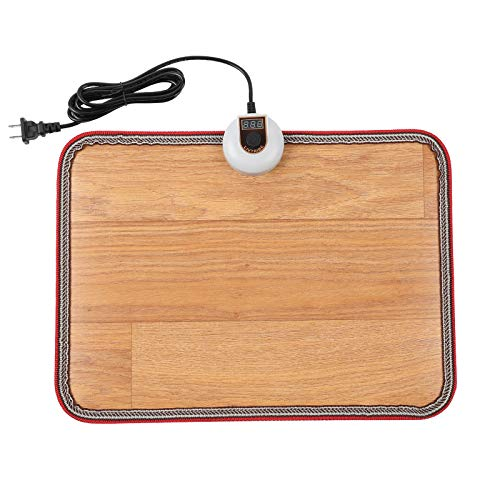 Livtribe AC 110V Heated Floor Mat for Foot, Wood Stripe Carbon Crystal Heating Pad, Electric Heated Foot Warmers for Office, Home