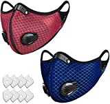 Adjustable Fashion Cloth Fabric Cotton Face Protection Breathable Mask, Unisex Earloop Dust Sport Mask, with Breathing Valve 8 Filter Sheet (2 Pack)