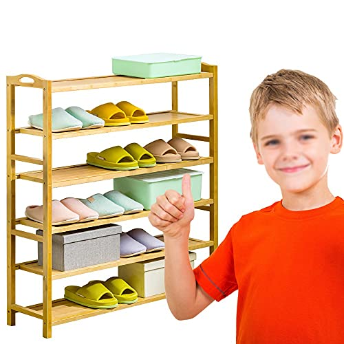 Yirunfa Estantería para Zapatos de 6 Niveles, Soporte para Plantas con Asas, En pie Zapatero de Bambú Multiuso Capacidad para 24-26 Pares Zapatos, 50 * 25 * 108CM para Entrada, Baño, Cocina