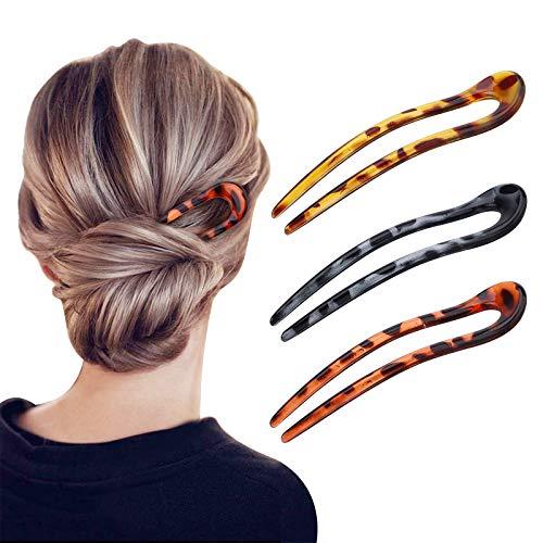 Gukasxi 3 Stück U-förmige Haarnadeln Haarnadel-Stick French Style U-förmige Haarspangen U-förmige Kopfschmuck Haarnadeln Gabel für Frauen Mädchen, Haarstyling-Zubehör - 3 Arten