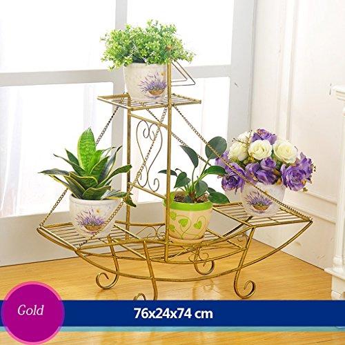 Escalier à fleurs en fer Canapé à fleurs Salon en plein air Balcon Porte-fleurs (76 * 24 * 74cm) (Couleur : Cuivre)