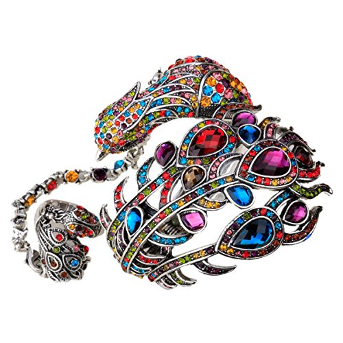 Hiddlston Wrap Bracelet Bangle Attached Slave Ring Crystal Jewelry Set Dumbledore Phoenix Tail Peacock Feather Custom Collection Women Multi Colored