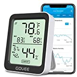 Govee Bluetooth Hygrometer Thermometer, Humidity Temperature Gauge with Remote Monitor, Large LCD Display, Notification Alert with Max Min Records, 2 Years Data Storage Export, Black