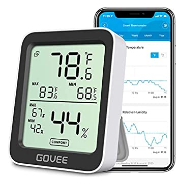 Govee Bluetooth Digital Hygrometer Indoor Thermometer Room Humidity and Temperature Sensor Gauge with Remote App Monitoring Large LCD Display Notification Alerts 2 Years Data Storage Export Black