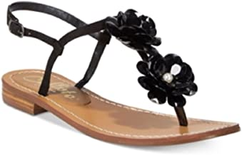 Callisto Womens Poli Open Toe Casual Slingback Flat Sandals Black 5 M US