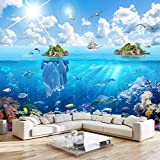 Msrahves fotomurales decorativos pared Cielo azul nubes blancas sol vida marina. 300X210CM Fotomural Vinilo de Pared Paredes Decoración Hogar fotomurale 3d fotomurale da parete fotomurales decorativos