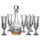 JNMDLAKO Set Decanter per Whisky in Cristallo Italiano Composto da;Decanter per Whisky da 75 cl e 6 Bicchieri da Whisky Doppio Vecchio Stile, B, Set da 7