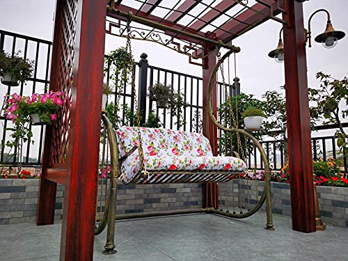 AMYZ Cojín para Banco de jardín con diseño de Flores,2 3 plazas,con Respaldo,sillones reclinables para Patio,colchón de Repuesto para Asiento de Espuma Suave para Exteriores,Interiores,160