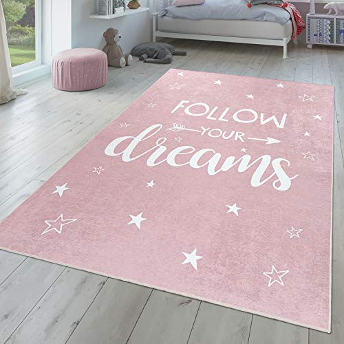 Alfombra Infantil, Tejido Plano para Habitación Infantil, con Frase Estampada Y Estrellas, Rosa, Größe:80x150 cm