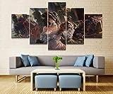CGHBDOP Modular HD Cuadro sobre Lienzo 5 Piezas Moderno Salón Decoración Impreso Frame Pared Art Poster Pintura200×100Cm Animación De Albedo