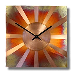 12-inch Copper Wall Clock - Rustic Art Decor 7th Anniversary Gift - for Home Kitchen Living Room