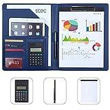 Leathario Carpeta Portadocumentos Piel Portafolio de Conferencias A4 Organizadora Comercial con Calculadora Oficina Negocio PU para Hombres