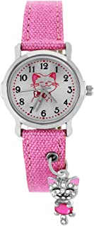 Pacific Time 87255 Montre-bracelet à quartz analogique pour fille avec pendentif chat scintillant sur bracelet textile Rose