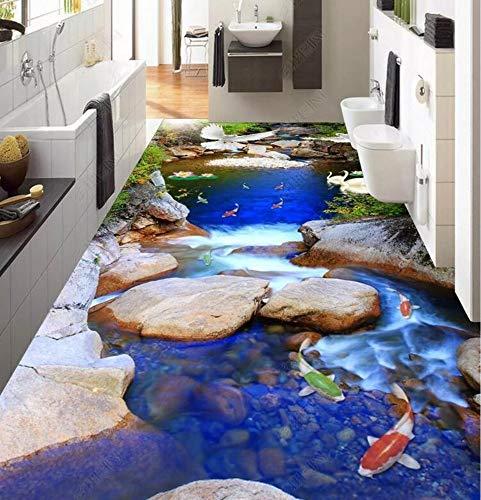 Benutzerdefinierte selbstklebende 3D-Bodenbilder Spektakuläres Naturwasser und Reichtum Neun Fische 3D-Bodenbild, 400 * 280 cm
