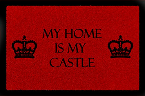 Interluxe voetmat deurmat My Home is My Castle geschenk inbouw huis 60x40 cm 60_x_40_cm rood