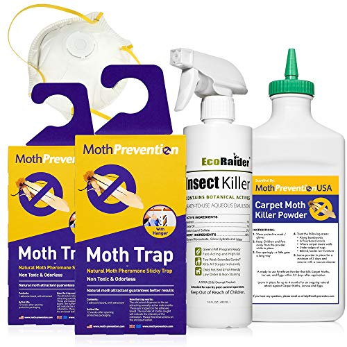 ClothesPro Powerful Carpet Moth Killer KIT | Natural Biodegradable Treatment by MothPrevention | Includes Carpet Moth Traps | 1 Room Treatment | Professional Grade