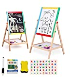 Lukzer 2 in 1 Double Sided Black and White Wooden Educational Safe Writing